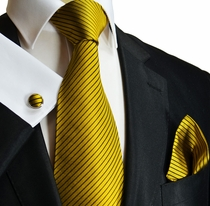 Gold and Black Striped Paul Malone Silk Necktie Set (398CH)