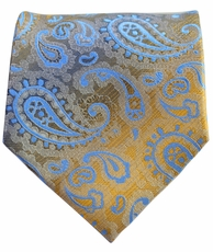 Gold and Blue Paisley Men's Tie