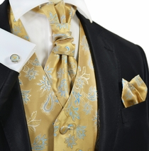 Gold and Blue Tuxedo Vest Set by Paul Malone