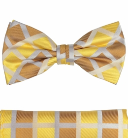 Gold and Brown Bow Tie and Pocket Square Set by Paul Malone (BT484H)