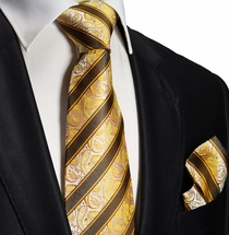 Gold and Brown Silk Tie and Pocket Square . Paul Malone Red Line
