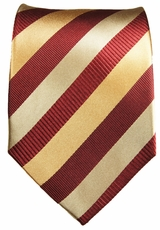 Gold and Maroon Striped Paul Malone Designer Silk Tie (245)