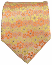 Gold and Orange Floral Men's Tie