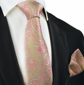 Gold and Pink Paisley Silk Tie by Paul Malone