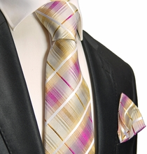Gold and Pink Silk Tie and Pocket Square . Paul Malone Red Line