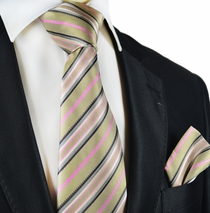 Gold and Pink Striped Silk Tie Set by Paul Malone