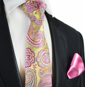 Gold and Raspberry Rose Paisley 7-fold Silk Tie Set by Paul Malone