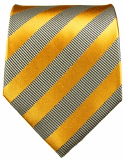 Gold and Silver Paul Malone Silk Necktie (640)
