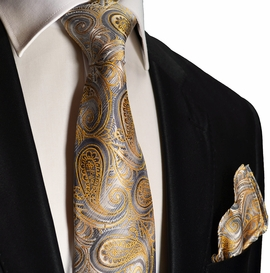 Gold and Silver Silk Tie and Pocket Square by Paul Malone