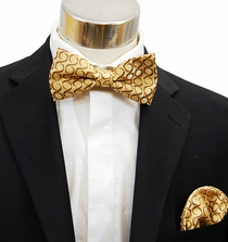 Gold Bow Tie and Pocket Square (BH951)