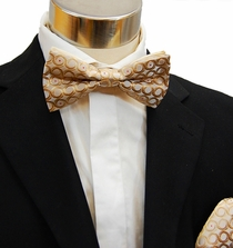 Gold Bow Tie and Pocket Square Set (BH946)