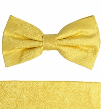 Gold Bow Tie and Pocket Square Set by Paul Malone . 100% Silk (BT582H)