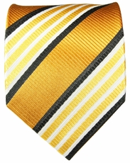 Gold, Bronze and Black Striped Paul Malone Silk Tie (264)