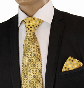 Gold Contrast Knot Silk Tie Set by Steven Land