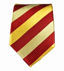 Gold & Maroon Striped Boys Silk Tie