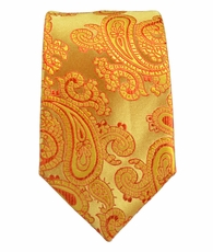 Gold Paisley Boys Tie by Paul Malone . 100% Silk