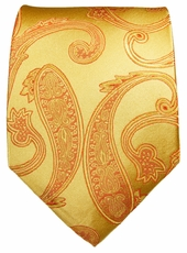 Gold Paisley Paul Malone Neck Tie, 100% Silk (517)