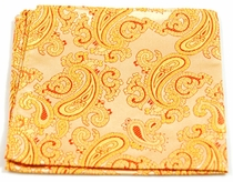 Gold Paisley Pocket Square . 100% Silk (H910)
