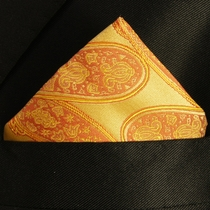 Gold Paisley Pocket Square (H517)