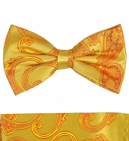 Gold Paisley Silk Bow Tie Set by Paul Malone (BT517H)