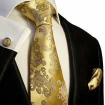 Gold Paisley Silk Necktie Set by Paul Malone
