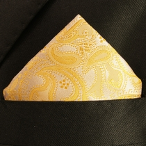 Gold Paisley Silk Pocket Square (H427)