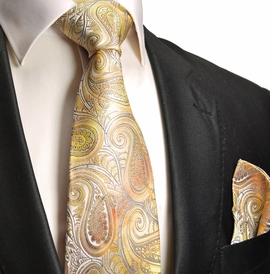 Gold Paisley Silk Tie and Pocket Square by Paul Malone