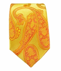 Gold Paisley Slim Necktie by Paul Malone . 100% Silk