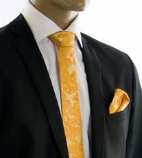 Gold Paisley SLIM Silk Tie Set by Paul Malone (SLim517H)