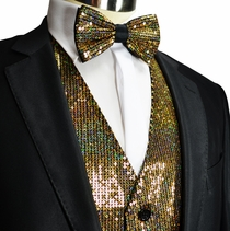 Gold Sequin Tuxedo Vest and Bow Tie