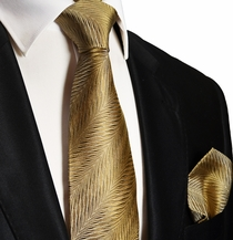 Gold Silk Necktie and Pocket Square . Paul Malone Red Line