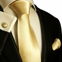 Gold Silk Necktie Set by Paul Malone (980CH)