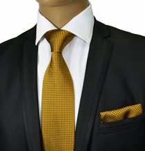 Gold Silk Tie and Pocket Square by Paul Malone Red Line