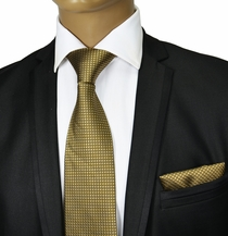 Gold Silk Tie & Pocket Square . Paul Malone Red Line