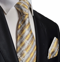 Gold, Silver and Brown Silk Tie Set by Paul Malone
