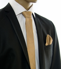 Gold SLIM Silk Tie and Pocket Square by Paul Malone (Slim962H)