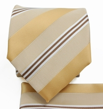 Gold Striped Tie a. Pocket Square (Q506-L)