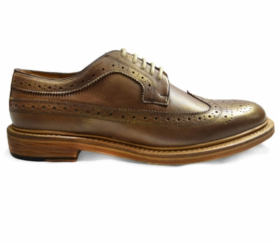 Gold Wing-Tip Dress Shoes by Paul Malone