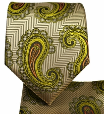 Gold, Yellow and Orange Tie and Pocket Square