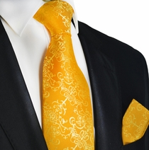 Golden Glow Silk Tie and Square by Paul Malone