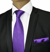 Grape Jam Tie and Pocket Square by Paul Malone Red Line