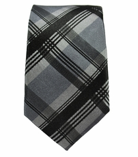 Gray and Black Slim Necktie by Paul Malone . 100% Silk