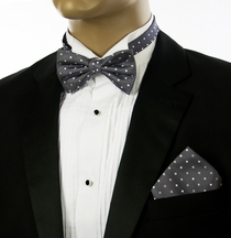 Gray Polka Dots Bow Tie andPocket Square Set by Paul Malone (BT965H)
