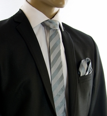 Gray SLIM Silk Tie and Pocket Square by Paul Malone (Slim811H)