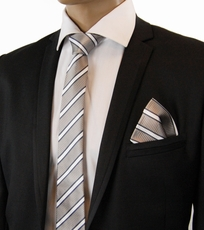Gray Striped Paul Malone SLIM Silk Tie Set