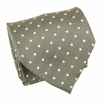 Gray with Polka Dots, Paul Malone Silk Necktie (965)