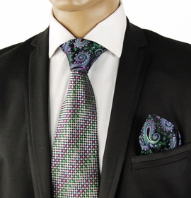 Green a. Purple Contrast Knot Silk Tie by Steven Land