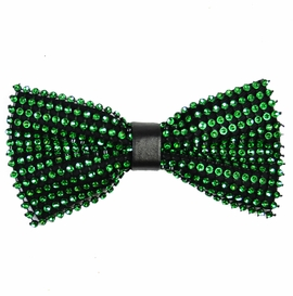Green and Black Crystal Bow Tie