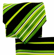 Green and Black Necktie and Pocket Square Set (Q581-E)
