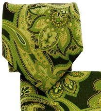 Green and Black Paisley Necktie and Pocket Square (Q569-U)